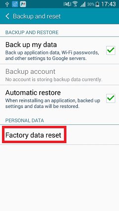 Tap Factory Data Reset