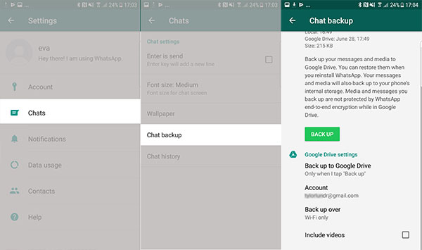 Backup WhatsApp via Google Drive