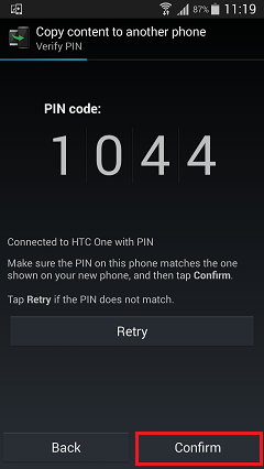 Confirm PIN Code on Samsung