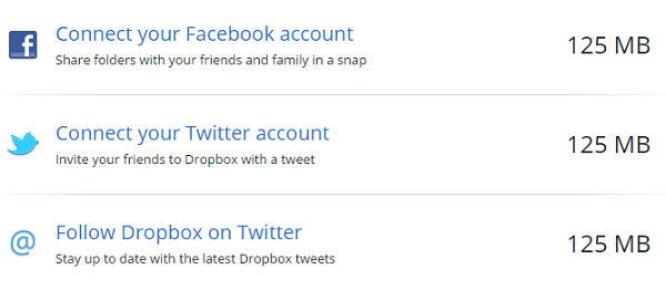 Connect Facebook and Twitter to Dropbox to Get More Space