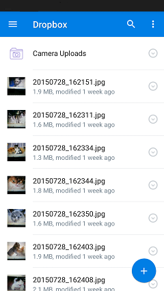 Add Files from Android to Dropbox