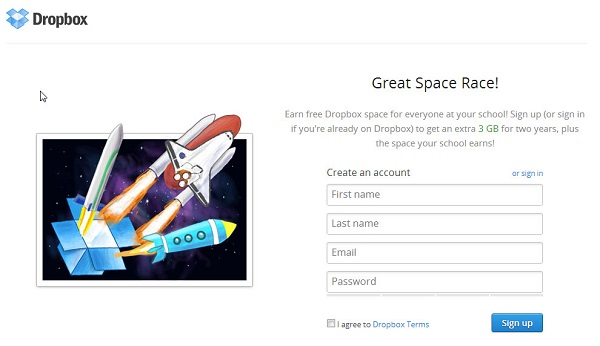 Earn Storage in Dropbox Space Race