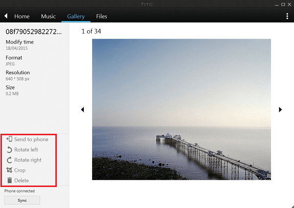 Adjust Pictures with HTC Sync Manager