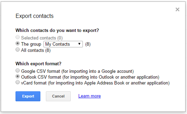 Export Contacts to PC