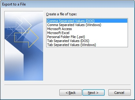 Transfer Contacts from Outlook