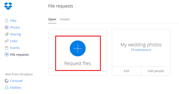 how to send download link from dropbox
