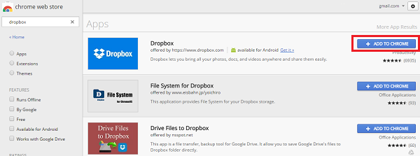 Install Dropbox Extension in Chrome