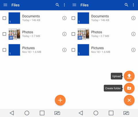 Tap Upload on OneDrive