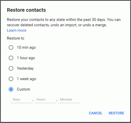 Restore Contacts via Gmail