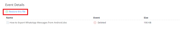 Restore Files from Dropbox Events