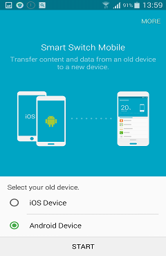 Select Android as Old Device