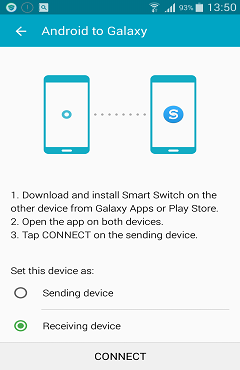 Set S6 as Receiving Device