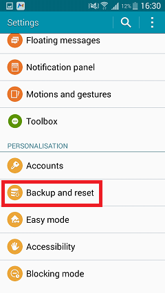 Choose Backup and Reset in Settings Panel