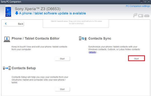 Choose Contacts Sync Option