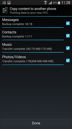 Start Transferring from Samsung to HTC