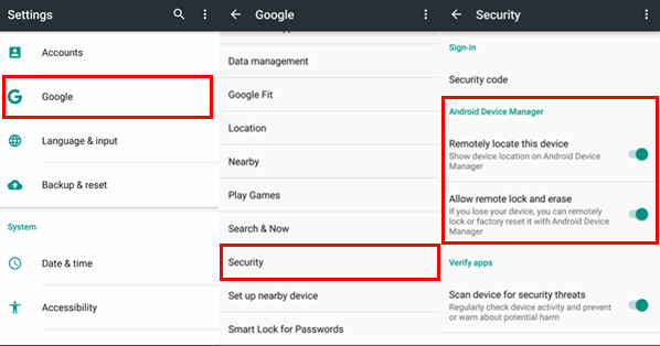 Turn on Google Security Settings