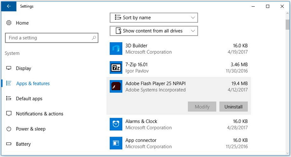 Uninstall Applications with Control Panel