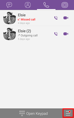 Select More Icon on Viber Android
