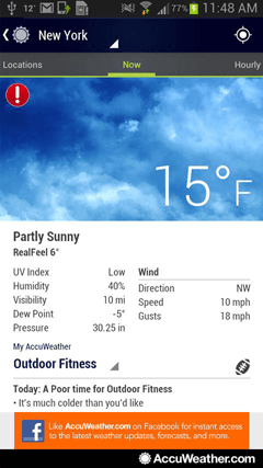 Accuweather for android gives you reliable weather information for Accuweather fishing forecast