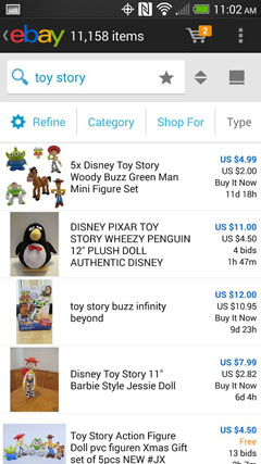 Search Result on eBay for Android