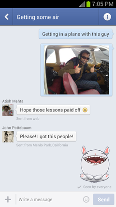 Talk in Facebook on Android