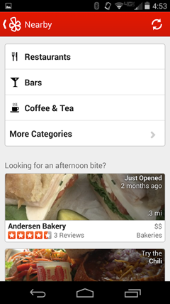 Categories Showing Businesses on Yelp