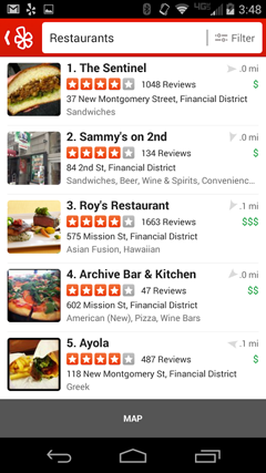 List of Restaurant Nearby on Yelp