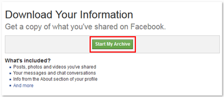 Facebook Download your Info