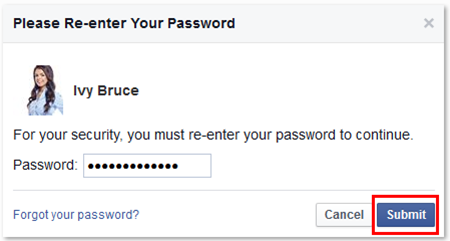 Facebook Re-enter your Password