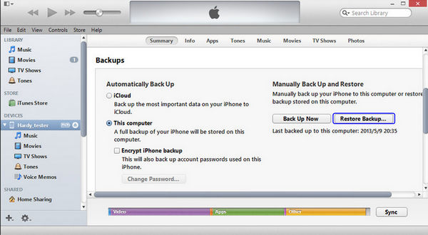 Restore Backup from iTunes