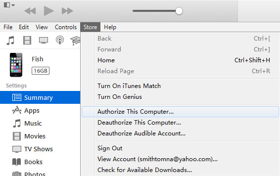 Authorize Computer before Transferring Purchases from iPhone to iTunes
