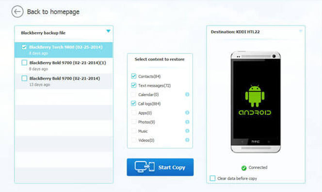 Restore Android from Blackberry