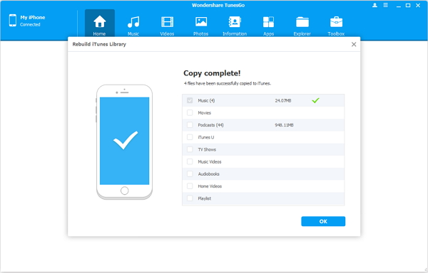 Finish Transferring Data from iPhone to iTunes